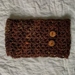 Scarf with Wood Burned Buttons